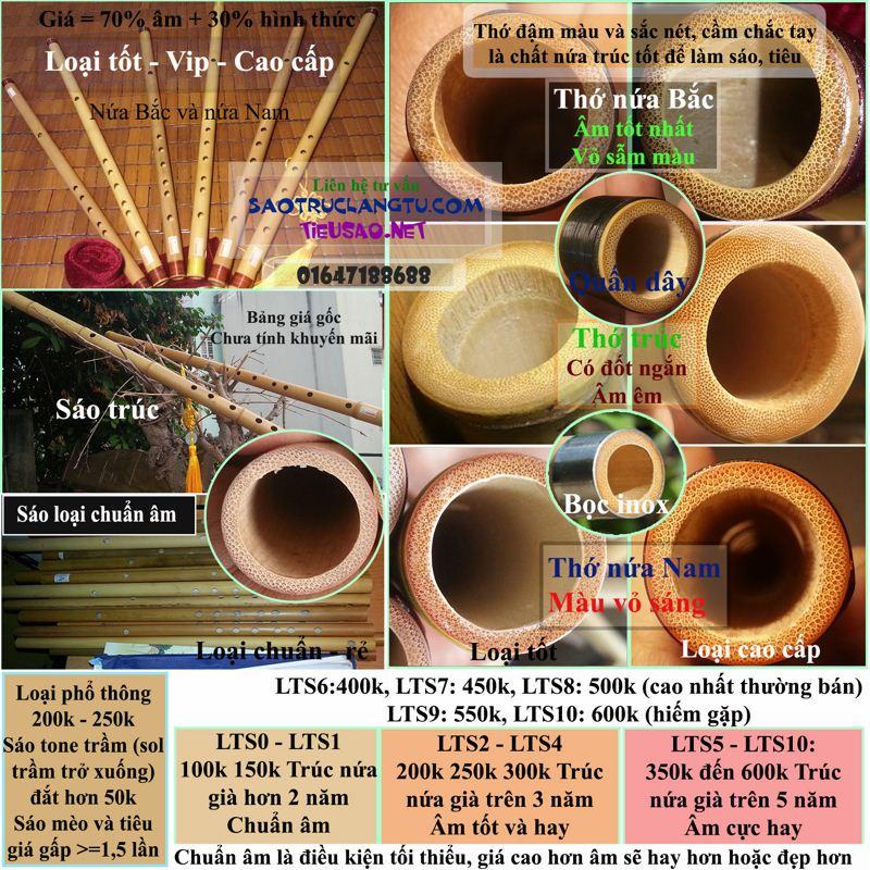 Sáo trúc nứa cao cấp đủ tone âm cực hay - LTS8-9-10