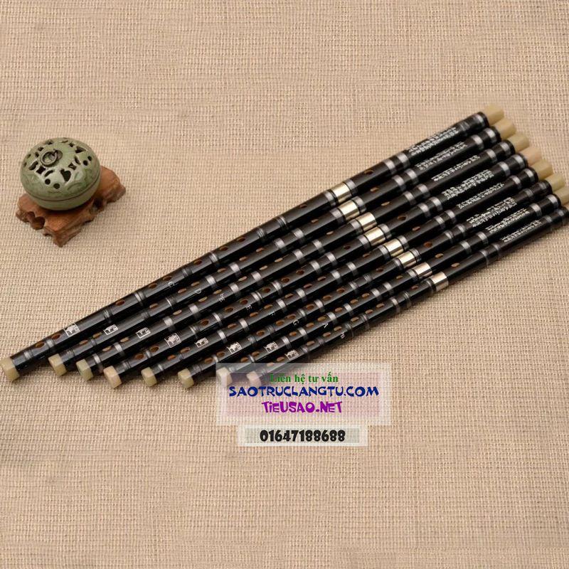 Sáo Dizi đen - sáo Tàu Hắc Mã khớp nối inox Dz12